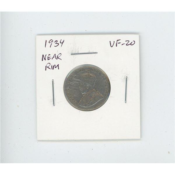 1934 Near Rim Nickel 5 Cents. S is near Rim. VF-20. Nice.