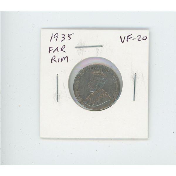 1935 Far Rim Nickel 5 Cents. S is far from Rim. VF-20. Nice.