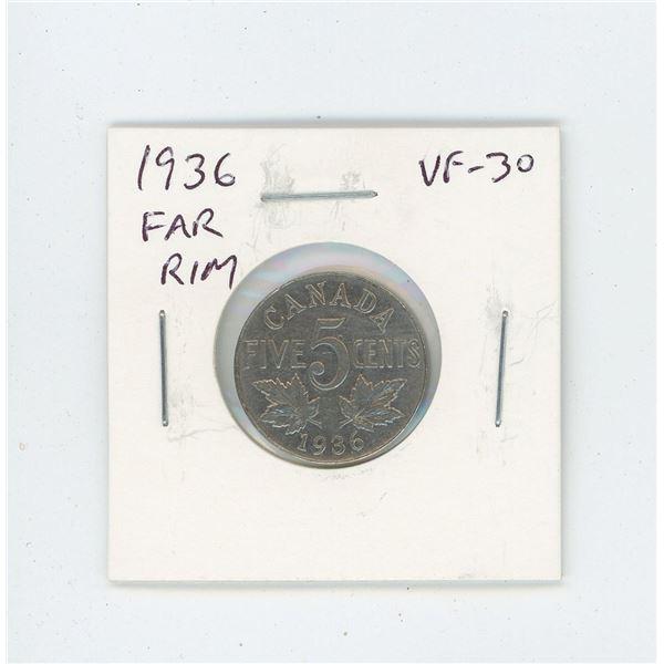 1936 Far Rim Nickel 5 Cents. S is far from Rim. VF-30. Nice.