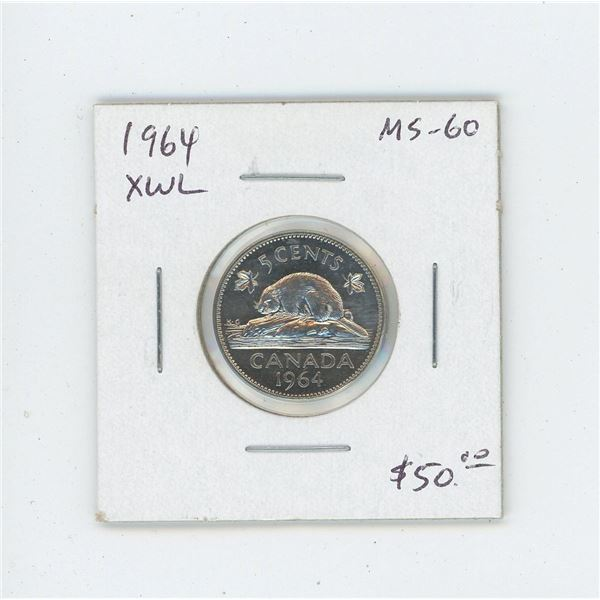 1964 Extra Water Lines Nickel 5 Cents. Key Date. Scarce. MS-60. Nice.