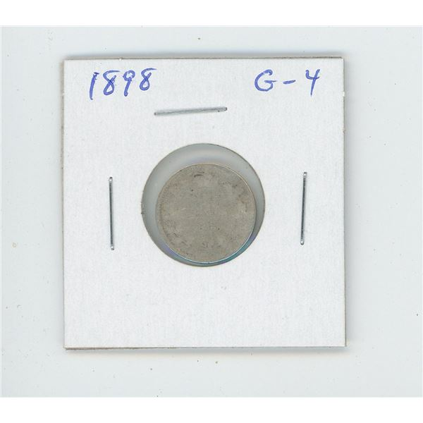 1898 Victorian Silver 10 Cents. G-4. Readable date.