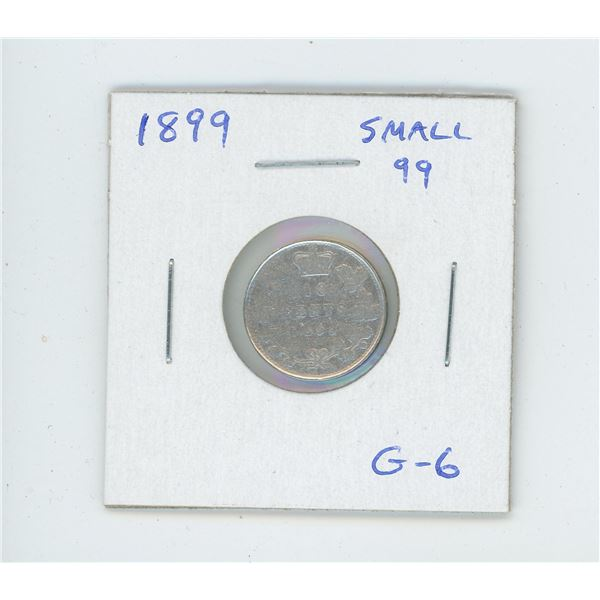 1899 Victorian Small 99 variety Silver 10 Cents. G-6.