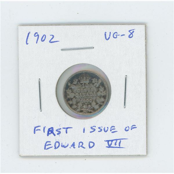 1902 Silver 10 Cents. The first 10 cents issued for Edward VII. VG-8.