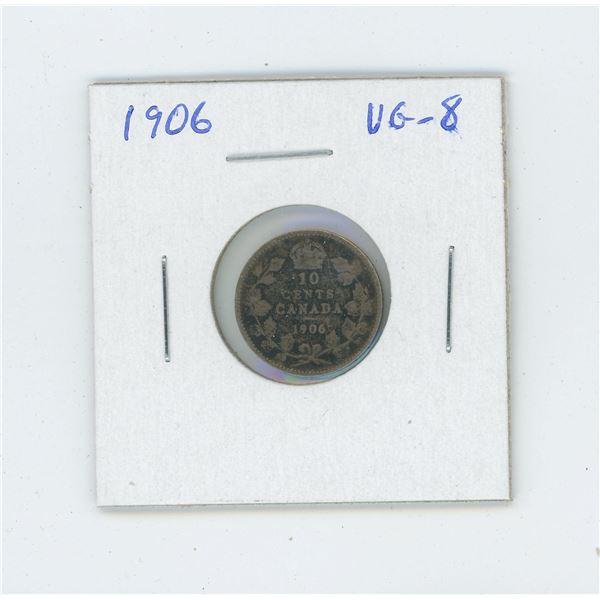 1906 Edward VII Silver 10 Cents. VG-8.