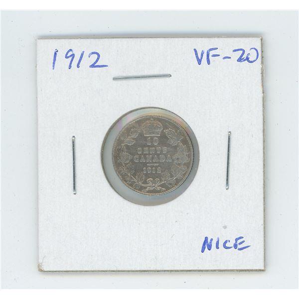 1912 George V Silver 10 Cents. VF-20. Nice.