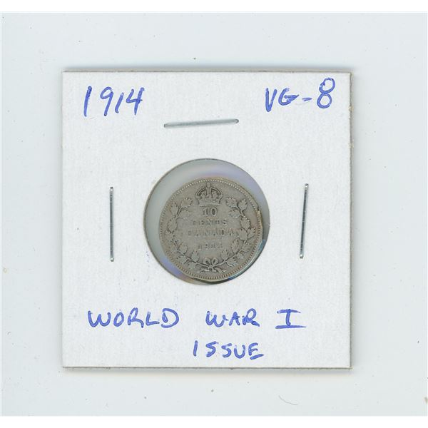 1914 George V Silver 10 Cents. World War I issue. VG-8.