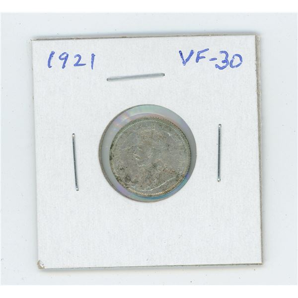 1921 George V Silver 10 Cents. VF-30.