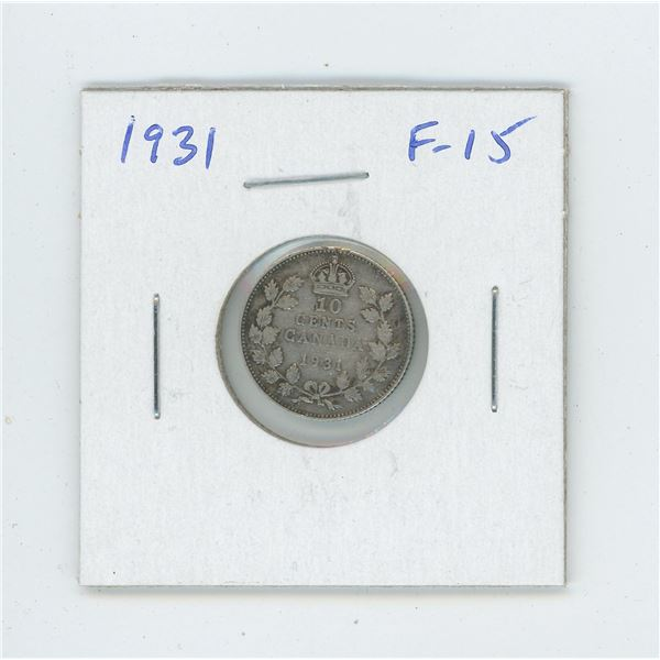 1931 George V Silver 10 Cents. Issued during the Great Depression. F-15.