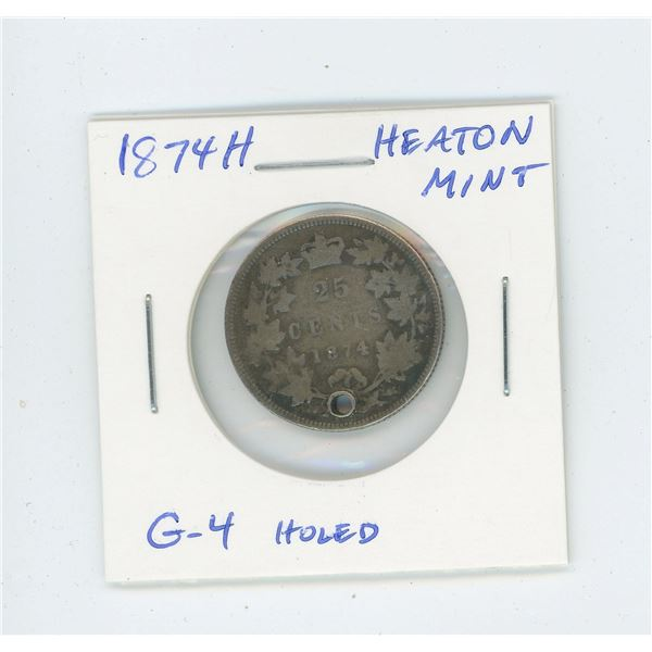 1874H Victorian Silver 25 Cents. Heaton Mint. G-4. Holed for suspension.