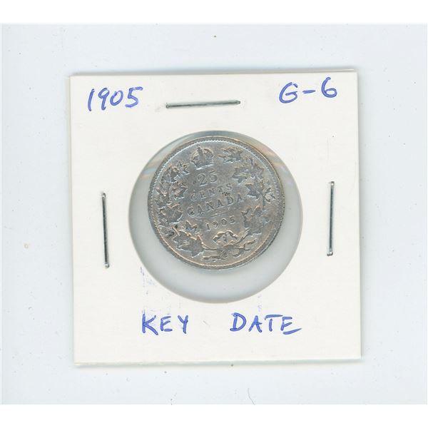 1905 Edward VII Silver 25 Cents. Key Date. Mintage of 800,000. G-6.
