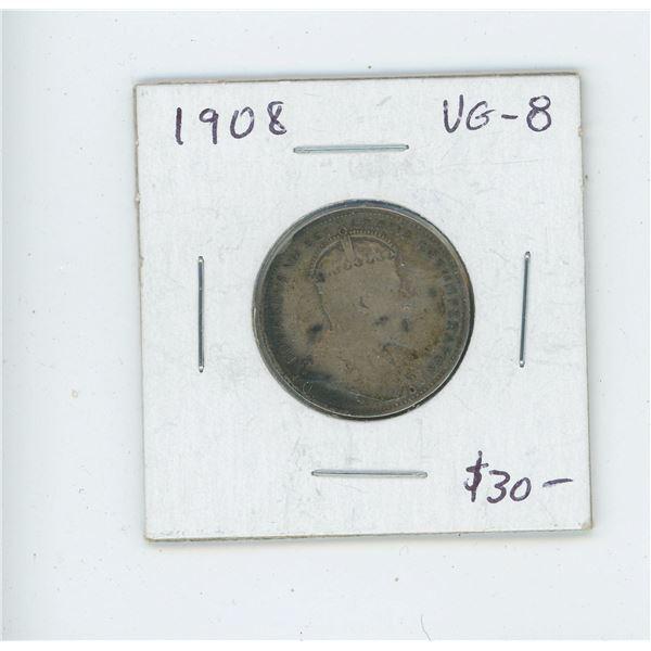 1908 Edward VII Silver 25 Cents. Key Date. Mintage of 495,016. VG-8.