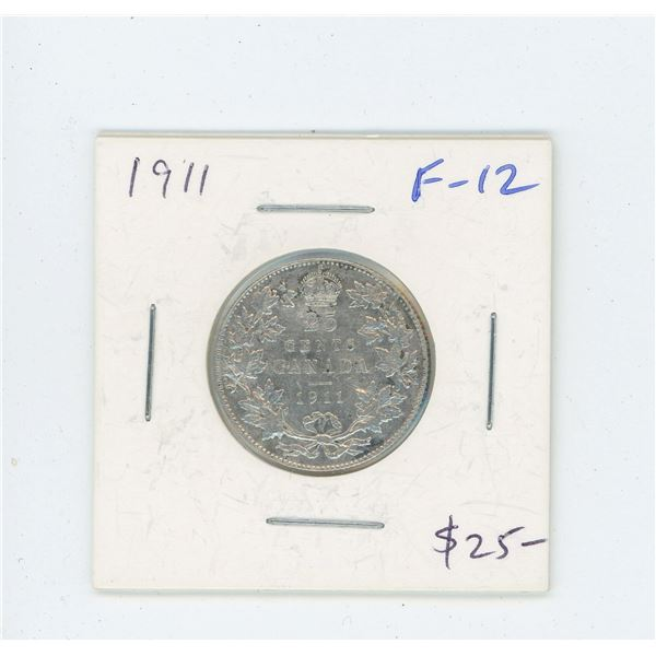 1911 Silver 25 Cents. The first issue for George V. F-12.