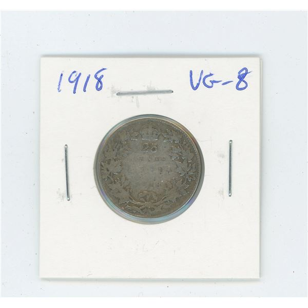 1918 Silver 25 Cents. World War I issue. VG-8.
