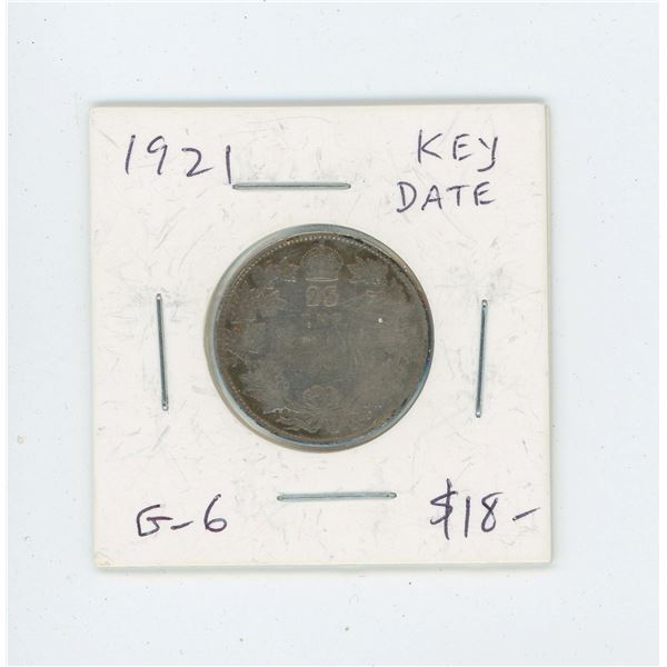 1921 Silver 25 Cents. Key Date. Mintage of 597,337. G-6.
