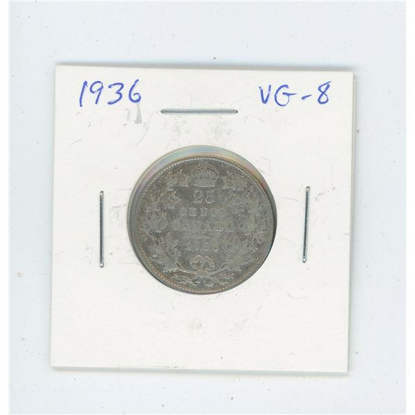 1936 Silver 25 Cents. The last issue of George V. VG-8.