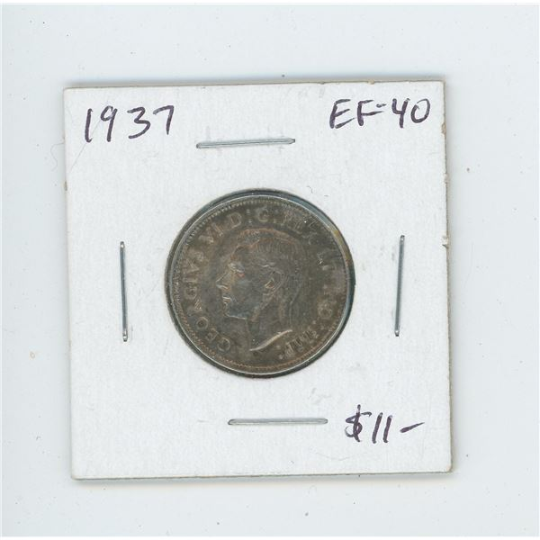 1937 Silver 25 Cents. The first issue of George VI. EF-40. Nice.