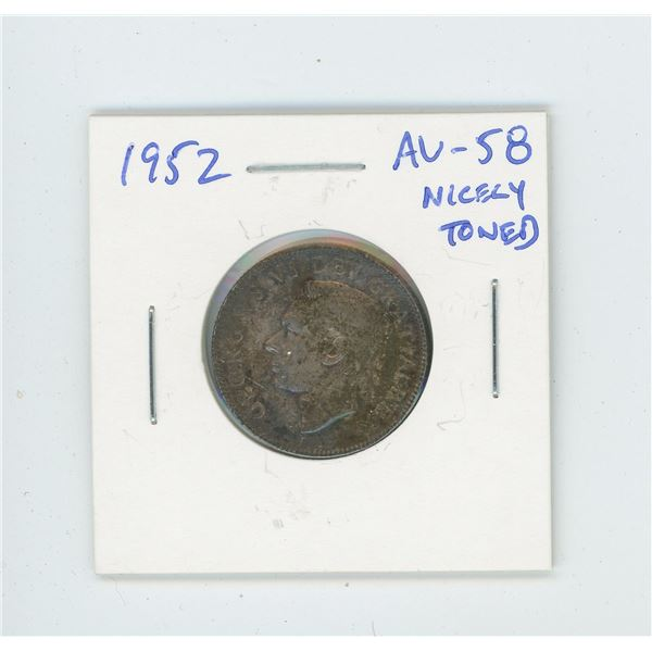 1952 Silver 25 Cents. The last issue of George VI. AU-58. Nicely Toned.