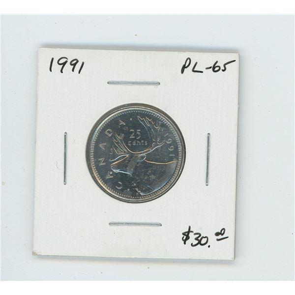 1991 Caribou 25 Cents. Proof Like-65. Scarce.