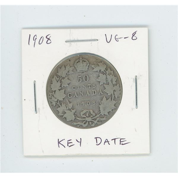 1908 Silver 50 Cents. The first 50 Cents struck at the new mint in Ottawa. Key Date. Mintage of 128,