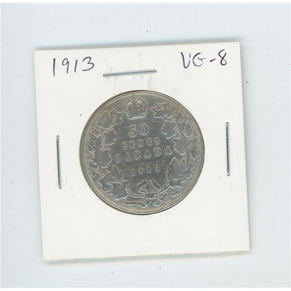 1913 Silver 50 Cents. Key Date. Mintage of 265,889. VG-8.