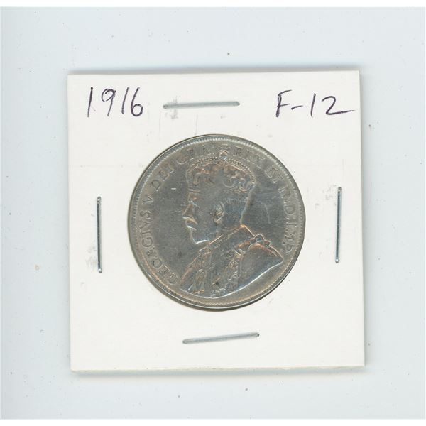 1916 Silver 50 Cents. World War I issue. F-12.