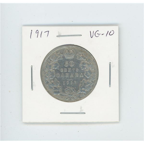 1917 Silver 50 Cents. World War I issue. VG-10.