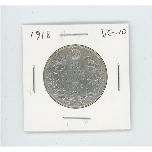 1918 Silver 50 Cents. World War I issue. VG-10.