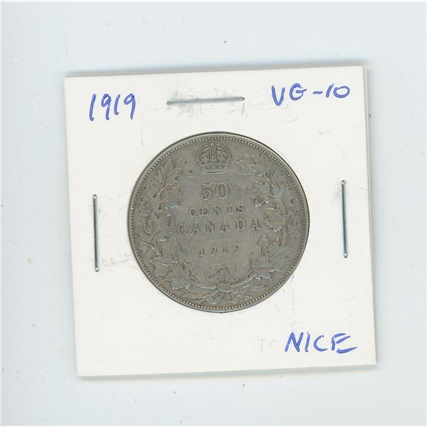 1919 Silver 50 Cents. VG-10.