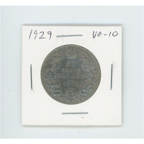 1929 Silver 50 Cents. Key Date. Mintage of 228,328. VG-10.