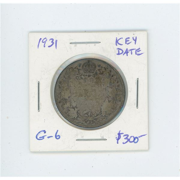 1931 Silver 50 Cents. Key Date. Mintage of 57,581. G-6.