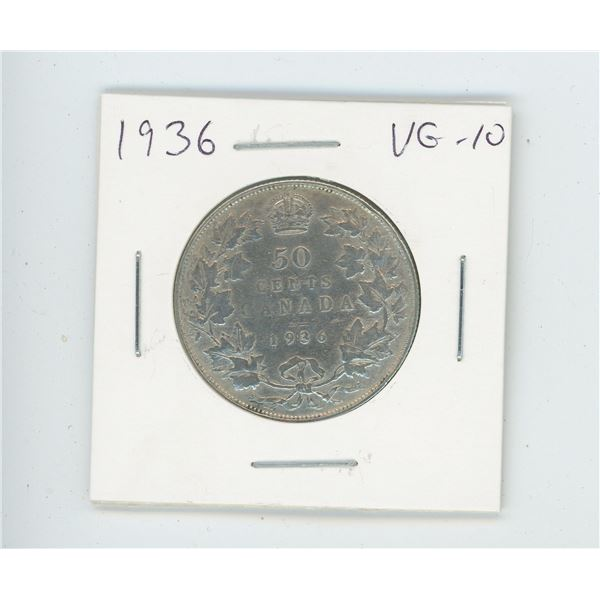 1936 Silver 50 Cents. Key Date. Mintage of 38,550. The last year of issue of George V. VG-10.