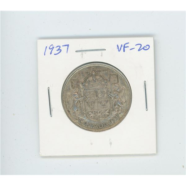 1937 Silver 50 Cents. The first year of issue for George VI. Mintage of 192,016. VF-20.