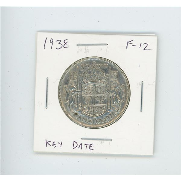 1938 Silver 50 Cents. Key Date. Mintage of 192,018. F-12.