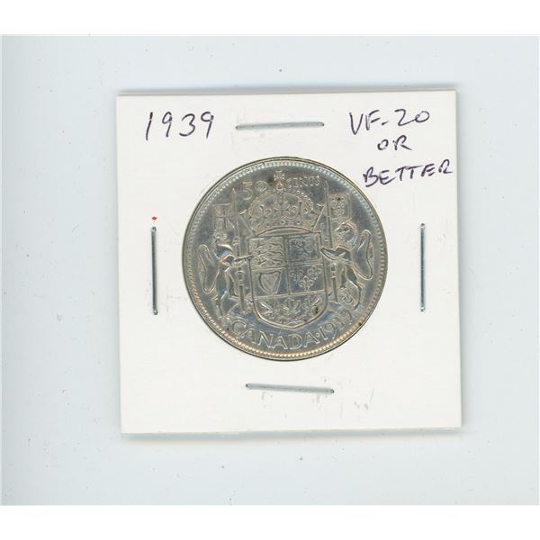 1939 Silver 50 Cents. World War II issue. VF-20 or better.