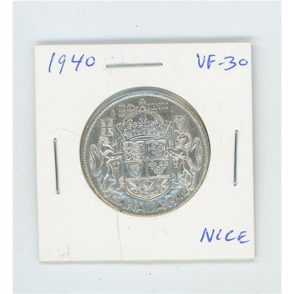 1940 Silver 50 Cents. World War II issue. VF-30. Nice.