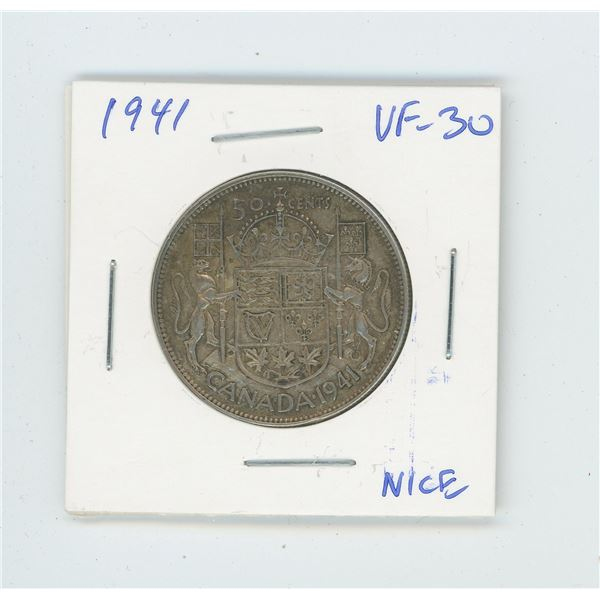1941 Silver 50 Cents. World War II issue. VF-30. Nice.