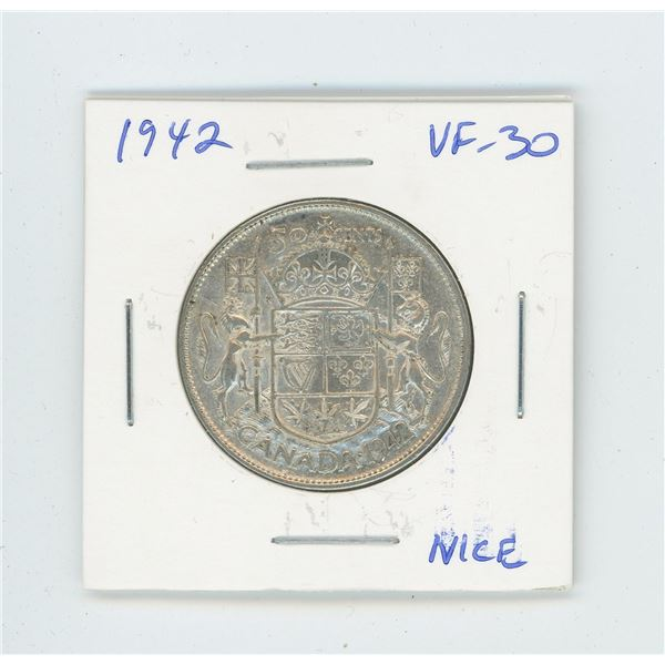 1942 Silver 50 Cents. World War II issue. VF-30. Nice.