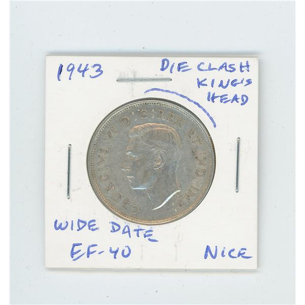 1943 Wide Date Silver 50 Cents with Die Clash above King's head. EF-40. Nice.