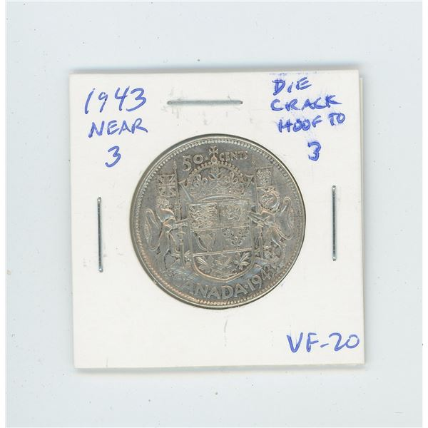 1943 Near 3 Silver 50 Cents with large Die Crack from Hoof to 3 in date. VF-20.