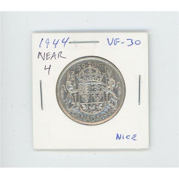 1944 Near 4 Silver 50 Cents. World War II issue. VF-30. Nice.