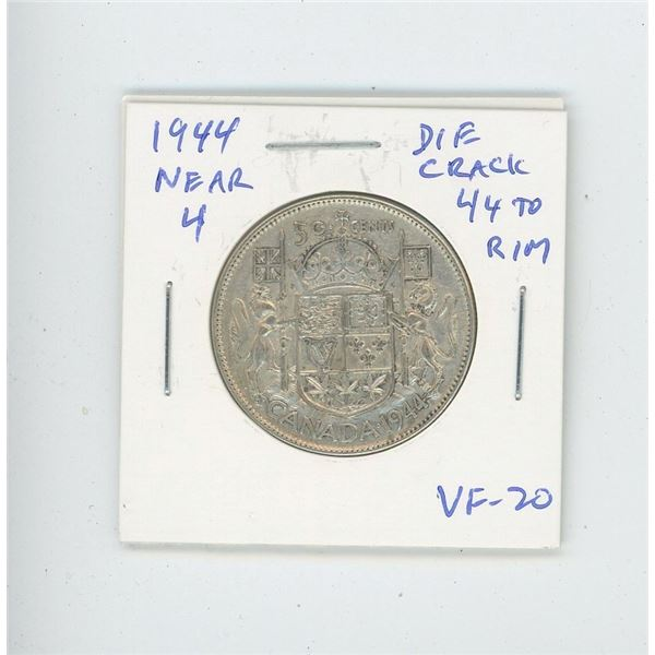 1944 Near 4 Silver 50 Cents with Die Crack from 44 to Rim. VF-20.