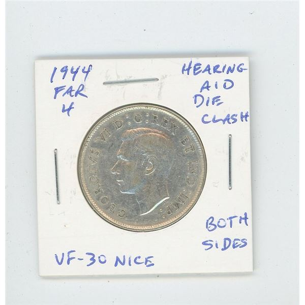 1944 Far 4 Silver 50 Cents with Hearing Aid. Die Clash on both sides of this coin. VF-30. Nice.