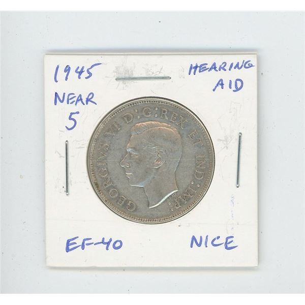 1945 Near 5 Silver 50 Cents with Hearing Aid from Die Clash. EF-40. Nice.