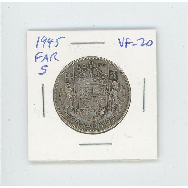1945 Far 5 Silver 50 Cents. World War II issue. VF-20.