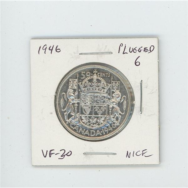 1946 Plugged 6 Silver 50 Cents. Scarce variety. VF-30. Nice.