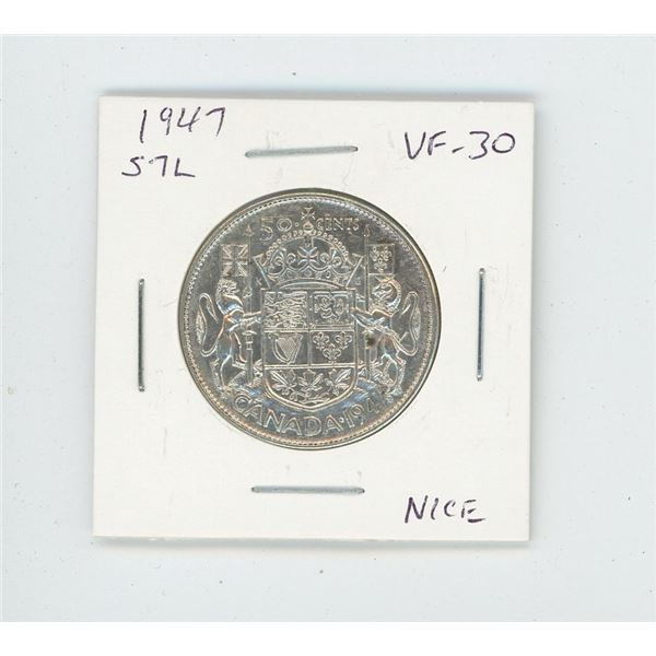 1947 Straight 7 Left Silver 50 Cents. VF-30. Nice.