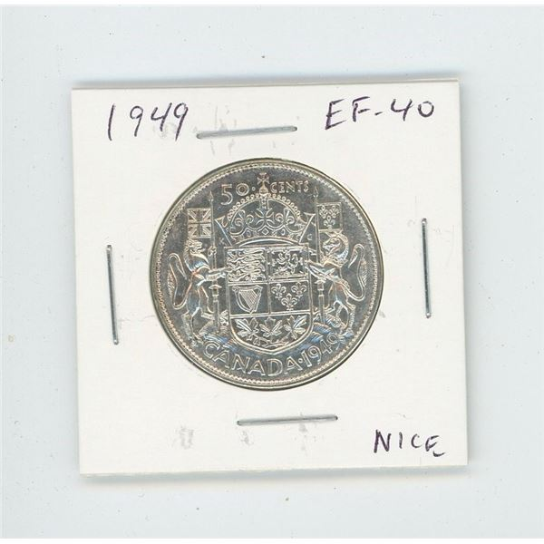 1949 Silver 50 Cents. EF-40. Nice.
