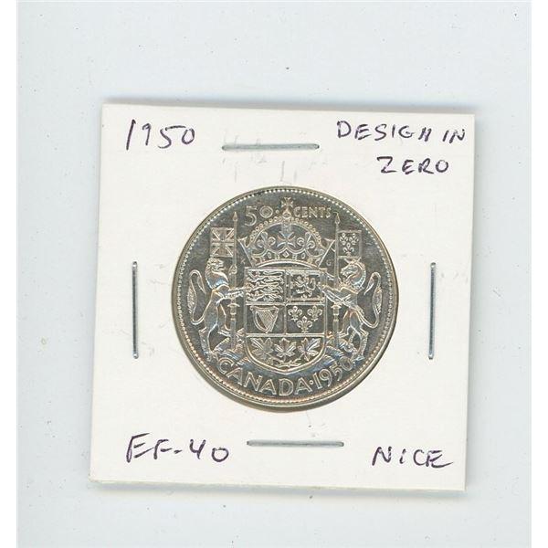 1950 Design in Zero Silver 50 Cents. EF-40. Nice.