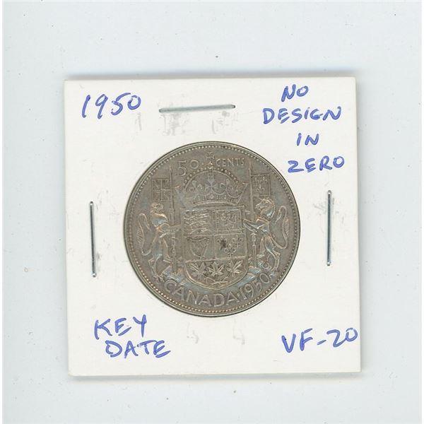 1950 No Design in Zero Silver 50 Cents. VF-20. Key Date.