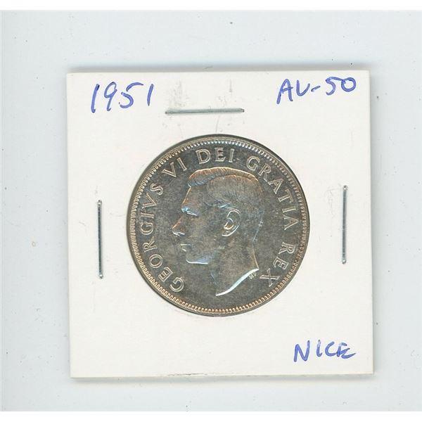 1951 Silver 50 Cents. AU-50. Nice.